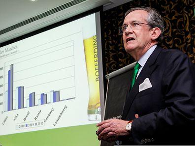L'administrateur-délégué de Brasserie nationale, Georges Lentz, a fustigé la loi antitabac et dit redouter les effets de la hausse de la TVA de 3 à 17% depuis le début de l'année. Photo: Guy Jallay)