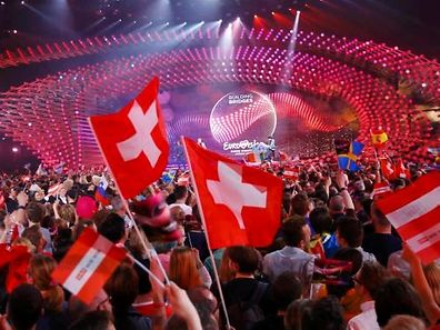 Fans cheer during the second semifinal of the upcoming 60th annual Eurovision Song Contest In Vienna, May 21, 2015. REUTERS/Leonhard Foeger