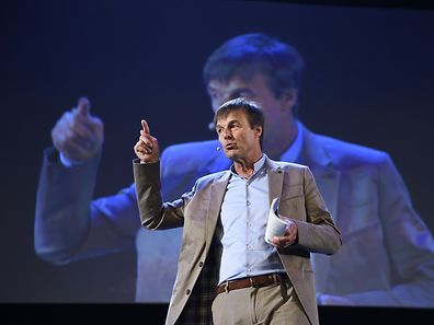 Founder and President of the Nicolas Hulot Foundation Nicolas Hulot gives a speech concerning his foundation's mobilisation campaign in regards to the upcoming United Nations Conference on Climate Change COP21, on October 7, 2015 in Paris. AFP PHOTO / ERIC FEFERBERG