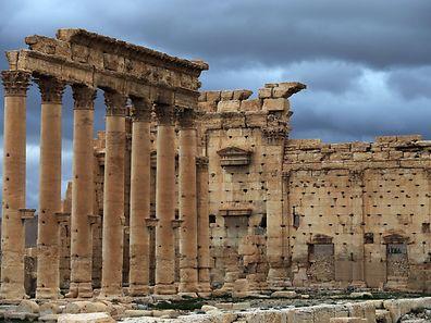 Une photo d'archives montre une vue extérieure du temple de Bêl, dans la cité antique de Palmyre, située à 215 km au Nord-Est de Damas.