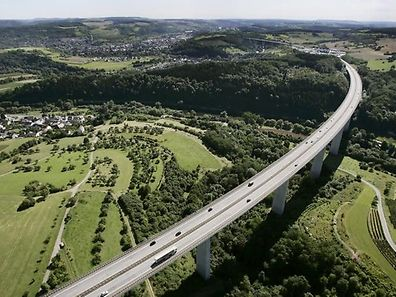 Bird's-eye view of the Sauer Viaduct on the Luxembourg-German border when it flow freely!