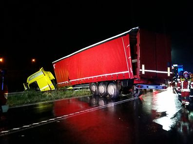 The driver of this lorry and passenger were lucky to escape without injury when it veered off the road on Monday night