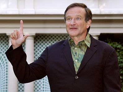 "Robin Williams, ici à Paris, en 2002, pour la promotion du film ""Insomnia"""