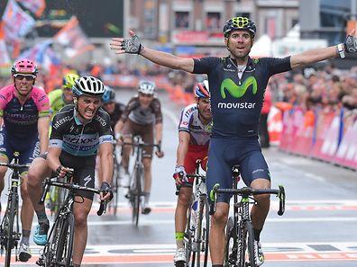 Alejandro Valverde (E/Movistar) siegt vor Julian Alaphilippe (F/Etixx-Quick Step) und Joaquin Rodriguez (E/Katusha)