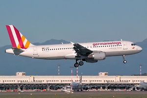 "This photo taken on September 2, 2014 at Milan Malpensa airport shows the Germanwings Airbus A320, that crashed in France on March 24, 2015. The plane, which had taken off from Barcelona in Spain and was headed for Dusseldorf in Germany, crashed on March 24, 2015 in the French Alps near the southeastern town of Seyne with 150 people onboard.  AFP PHOTO / GIORGIO PAROLINI == RESTRICTED TO EDITORIAL USE - MANDATORY CREDIT ""AFP PHOTO / GIORGIO PAROLINI"" - NO MARKETING NO ADVERTISING CAMPAIGNS - DISTRIBUTED AS A SERVICE TO CLIENTS =="