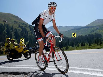 Laurent Didier at the front of the race as he makes the climb of Independence Pass
