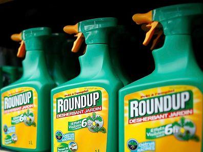Flaschen des Herbizids Roundup in einem Marktregal.