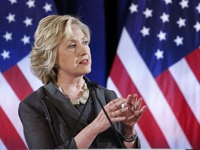 "Democratic presidential candidate Hillary Clinton speaks at the Call for Shift from ""Quarterly Capitalism"" conference at the New York University in New York."