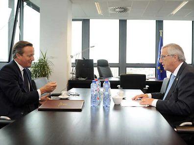 File photo of European Commission President Jean-Claude Juncker meeting UK Prime Minister David Cameron