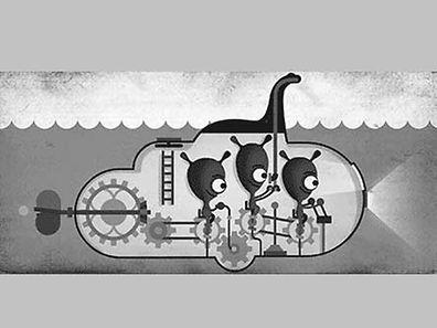 """Ein """"Doodle"""" erinnert an ein berühmtes Foto von """"Nessie""""."""