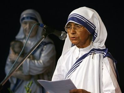 2007 photo shows Head of The Missionaries of Charity Sister Nirmala addressing a gathering at The Mother House in Kolkata.