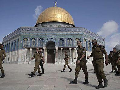 Soldats israéliens sur l'esplanade des Mosquées, le 19 octobre 2014