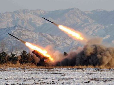 This undated handout photo released by the Korean Central News Agency on January 5, 2009 shows a missile-firing drill at an undisclosed location in North Korea.