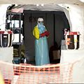 A medic at an Ebola medical unit in the Liberian capital Monrovia