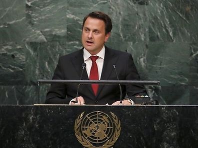 Luxembourg Prime Minister Xavier Bettel addresses the General Assembly of the United Nations