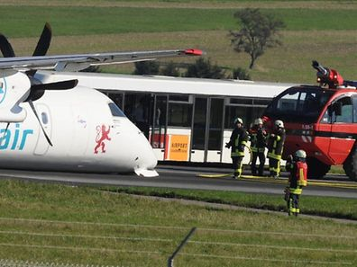 Eine Bombardier der Luxair war am Mittwoch in Saarbrücken auf dem Bauch gelandet.