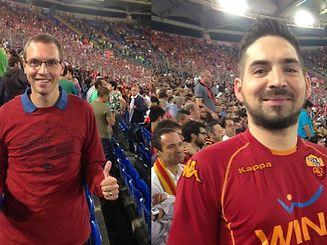Die LW-Redakteure Kevin Zender (links) und Joe Geimer erlebten das denkwürdige Spiel der Bayern in Rom live mit.