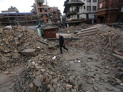 The debris of a temple in Kathmandu, Nepal
