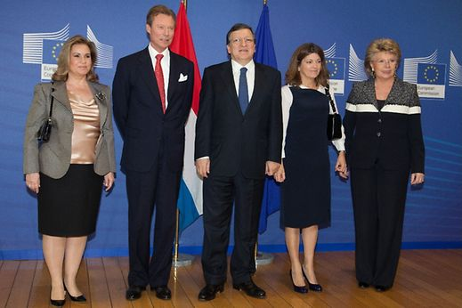 Luxembourg's Grand Duchess Maria-Teresa (left), Grand Duke Henri, European Commission President José Manuel Barroso (centre) and Vice-President Viviane Reding (far right).