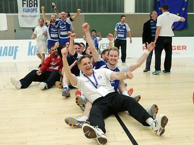 19 Handball Sales Lentz League 2014-15 zwischen dem HB Esch und dem HB Dudelingen am 23.05.2015 Freude beim HB Dudelingen nach dem Sieg