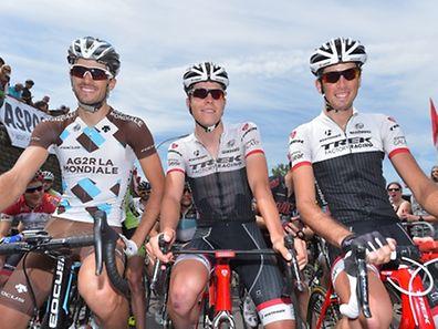 Ben Gastauer (Ag2r-La Mondiale), Bob Jungels and Laurent Didier (Trek Factory Racing) (l.t.r.)
