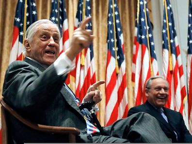 Ben Bradlee (l.) & Bob Woodward, a former Washington Post reporter discuss the Watergate Hotel burglary in 2011