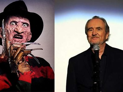 Wes Craven and one of his most well known horror creations, Freddy Kreuger from the 'Nightmare On Elm Street' films