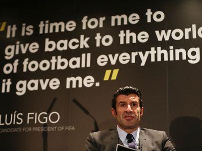 Luis Figo launches FIFA Presidential Campaign Manifesto at Wembley Stadium, UK.