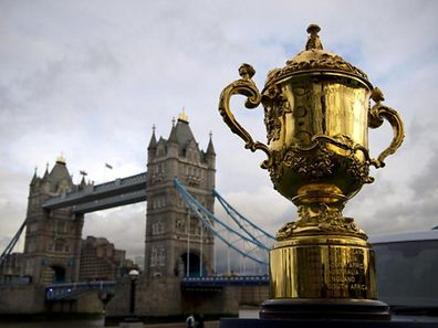 TOPSHOTS The Webb Ellis Cup, is displayed close to Tower Bridge ahead of the Rugby World Cup