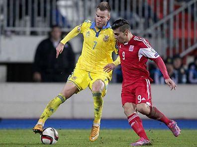 Yarmolenko (de amarelo) acabou com as esperanças do Luxemburgo