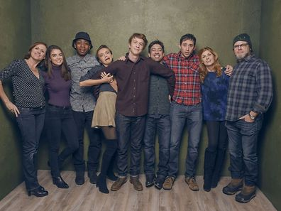 "Actors Molly Shannon, Katherine C. Hughes, RJ Cyler, Olivia Cooke, Thomas Mann, director Alfonso Gomez-Rejon, screenwriter Jesse Andrews, actors Connie Britton and Nick Offerman (l.t.r.) from ""Me & Earl & the Dying Girl"""