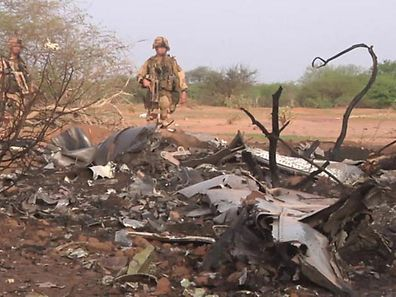 The crash site of Air Algerie flight AH5017 is seen near the northern Mali town of Gossi