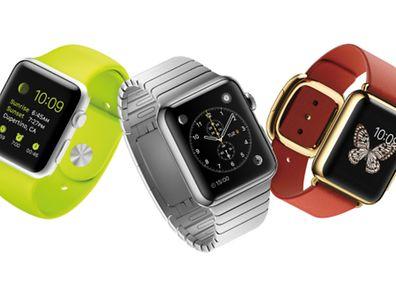 Die Apple Watch kommt in drei Ausführungen. Sie heißen Apple Watch Sport, Apple Watch und Apple Watch Edition. Letztere ist mit 18-karätigem Gold beschichtet (von links nach rechts).