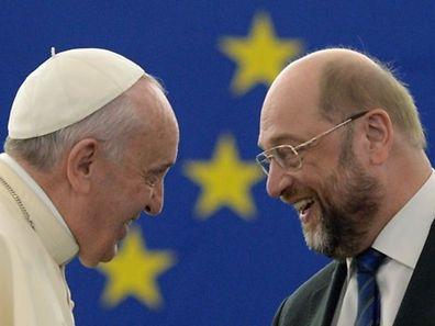 Le pape François avec le président du Parlement européen, Martin Schulz