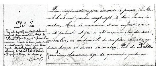 Die Geburtsurkunde von François Faber, der am 26. Januar 1887 in Aulnay-sur-Iton, in die Nähe von Evreux, das Licht der Welt erblickte.