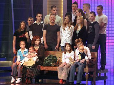 Annegret Raunigk en 2005 lors d'une émission télé avec ses enfants et petits-enfants