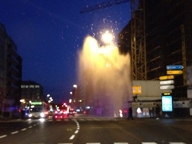 A burst watermain on Boulevard Royal