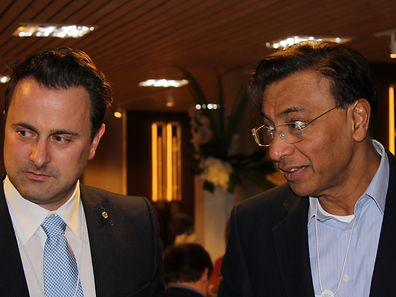 Xavier Bettel et Lakshmi Mittal à Davos