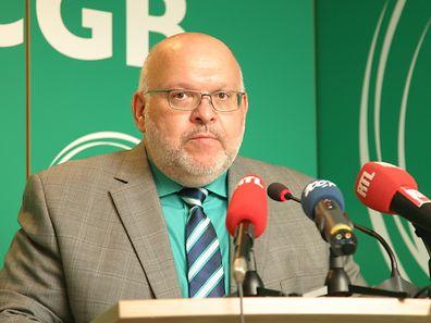 """Patrick Dury, président du LCGB: """"Nous avons besoin d'une Tripartite nationale pour discuter des mesures à prendre pour lutter contre le chômage et atteindre l'équilibre des finances publiques""""."""