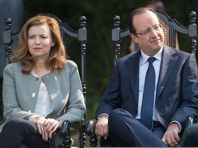 Photo prise le 15 février 2013 : François Hollande et Valérie Trierweiler à New Delhi