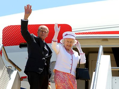 Britain's Prince Philip and Queen Elizabeth II during a 2011 visit to Australia.