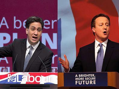 Dans les sondages, Ed Miliband (Labour) a pour l'instant un peu d'avance sur le Premier ministre sortant, David Cameron (Conservateurs)