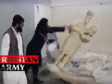 Die IS-Terroristen reagierten sich im Museum von Mossul ab.