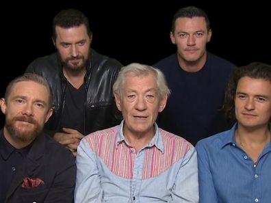 """Die Schauspieler-Truppe um """"Gandalf"""" Ian McKellen kündigt die London-Premiere an."""