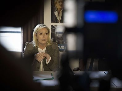Head of French far-right party Front National (FN) Marine Le Pen gives a press conference, on March 24, 2015 in Melun.