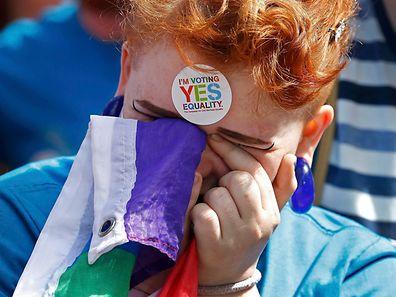 Freudentränen bei einem Befürworter der Homo-Ehe.