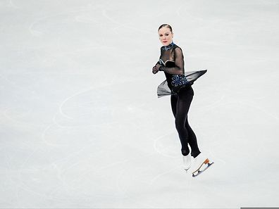 Fleur Maxwell performs on ice during the ladies free skating routine of the ISU European Figure Skating Championships on January 31, 2015 in Stockholm