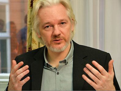 WikiLeaks founder Julian Assange during a press conference inside the Ecuadorian Embassy in London on August 18