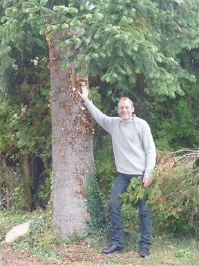 Eric en 2012, au pied du sapin Pif planté dans un petit pot de terre cuite en 1975