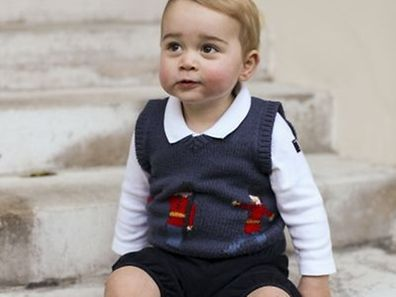 "An undated handout picture issued by the Duke and Duchess of Cambridge on December 13, 2014 and taken in late November, one of three official Christmas images, shows Britain's Prince George of Cambridge sitting in a courtyard at Kensington Palace in London. Three Christmas photos of a rosy-cheeked Prince George were released by Britain's royal family Saturday, offering a festive glimpse of the future king. The pictures show 17-month-old George in a courtyard at Kensington Palace, where his parents, Prince William and Kate, have a London apartment. RESTRICTED TO EDITORIAL USE - MANDATORY CREDIT "" AFP PHOTO / DUKE AND DUCHESS OF CAMBRIDGE "" - NO MARKETING NO ADVERTISING CAMPAIGNS - NO SALES - RESTRICTED TO SUBSCRIPTION USE - NO COMMERCIAL USE - DISTRIBUTED AS A SERVICE TO CLIENTS"